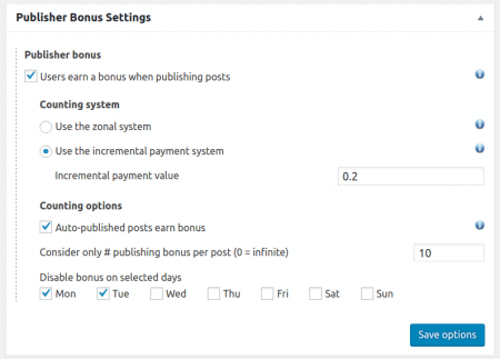Publisher Bonus Settings