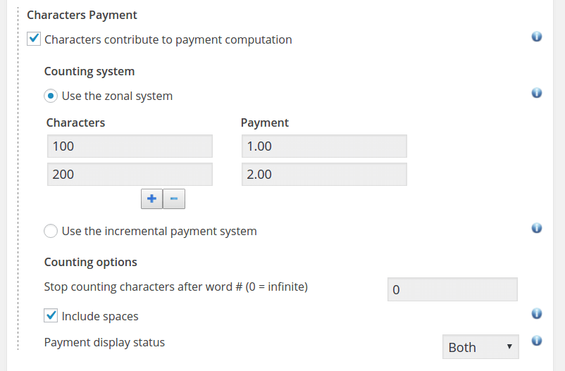 Pay Per Character - Counting Settings