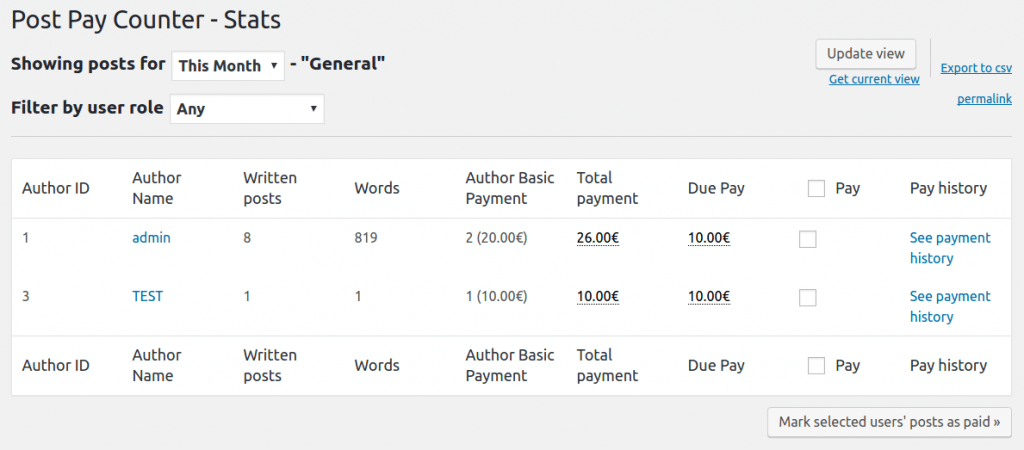 Author Basic Payment Post Pay Counter - Stats
