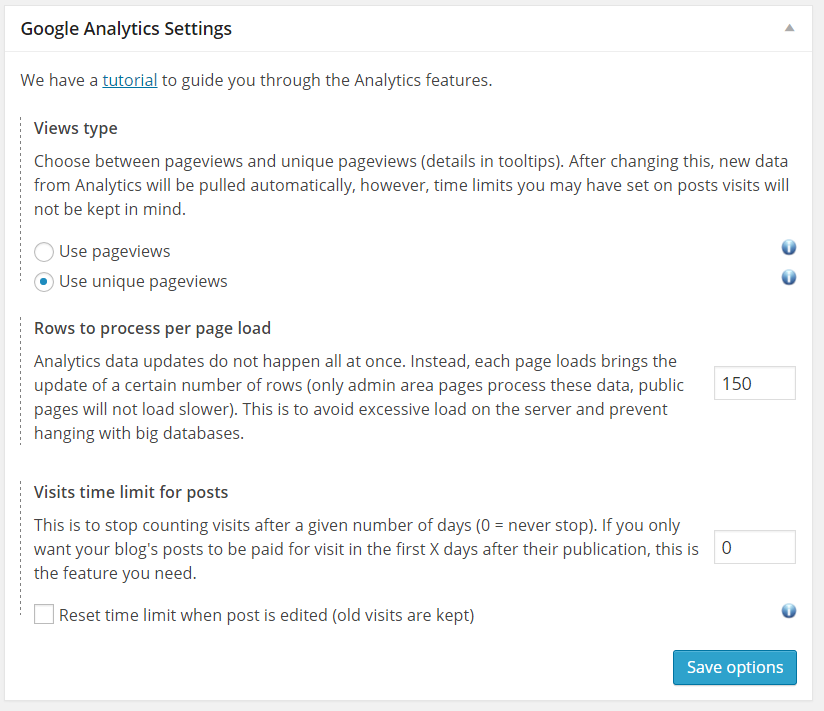 Pay writers per visit WordPress - Analytics