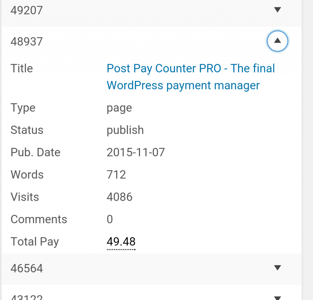 Post Pay Counter responsive posts