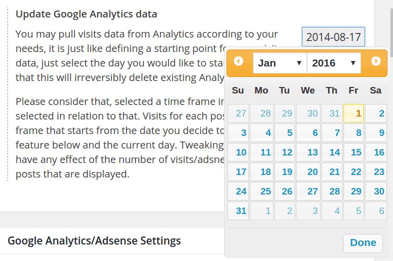 Analytics start day