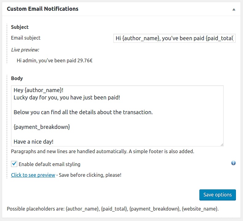 Custom Email Notifications - Settings box